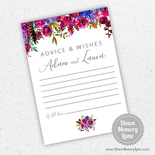 Advice Cards - Fuscia Flora Drop