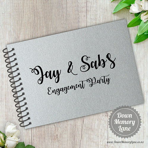 A5 Size - Engagement Ribbon Writing on Silver