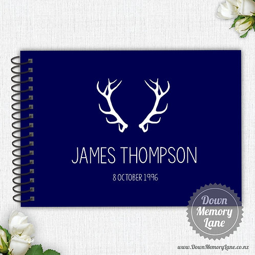 A4 Size - Birthday Antlers on Blue