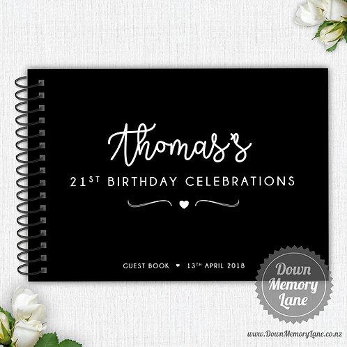 A4 Size - Birthday Celebrations on Black