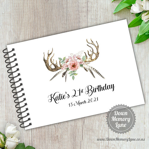 A5 Size - Birthday Boho Antlers