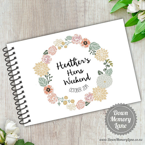 A5 Size - Hens Floral Wreath