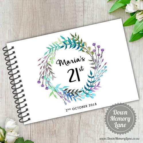 A5 Size - Birthday Blue Purple Wreath