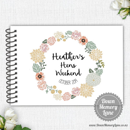 A4 Size - Hens Floral Wreath