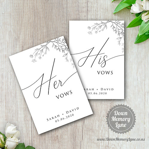 Vow Book - Classic Mono Meadow - Style 2