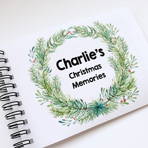 A5 Size - Christmas Wreath on White