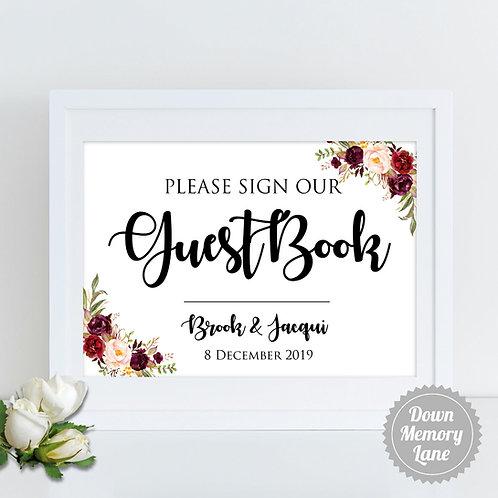 Please Sign - Burgundy Cream Florals
