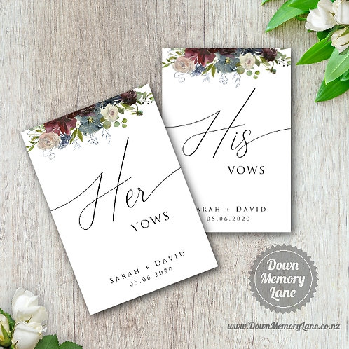 Vow Book - Classic Wild Bouquet - Style 2