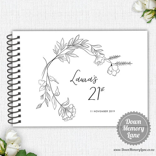 A4 Size - Birthday Simple Botanicals on White