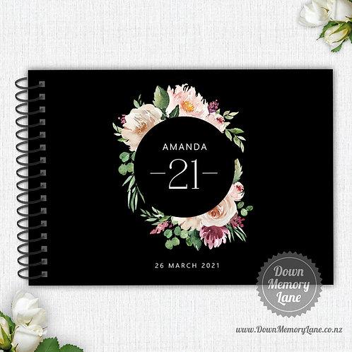 A4 Size - Birthday Pastel Rose on Black