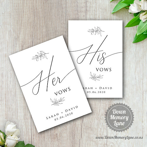 Vow Book - Classic Olive Branch - Style 2