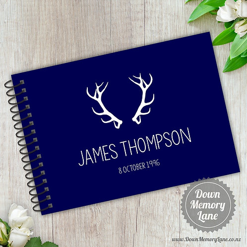 A5 Size - Birthday Antlers on Blue