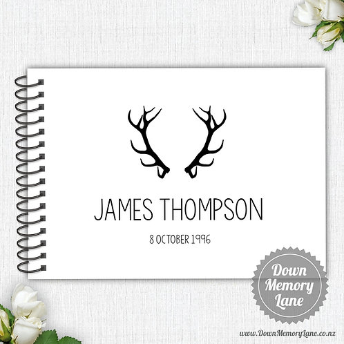 A4 Size - Birthday Antlers on White