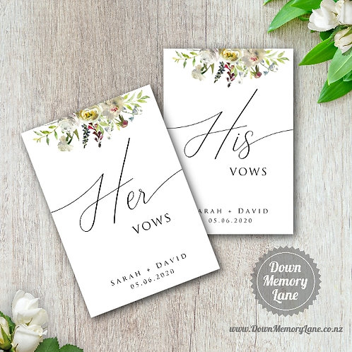 Vow Book - Classic White Flora - Style 2