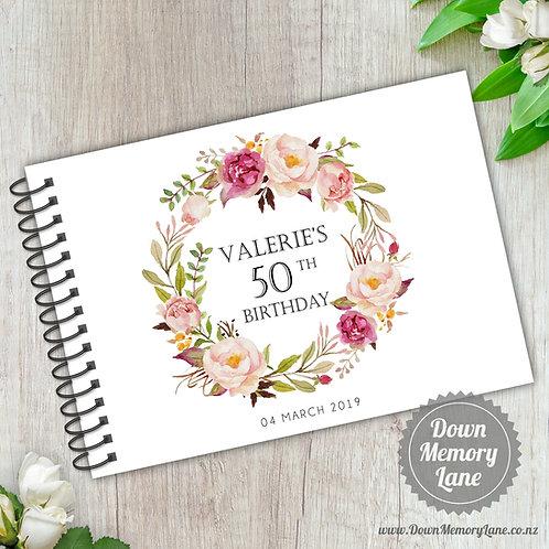 A5 Size - Birthday Blush Wreath on White