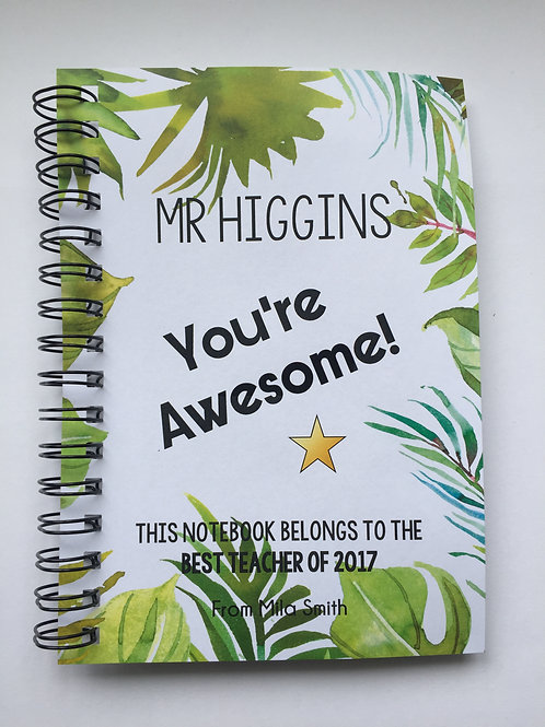 A4 Size - Gift Notebook - Tropical Border
