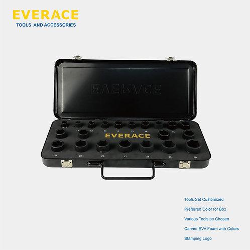 "425007    21pcs 1/2""  Dr.  Impact Socket Set with Metal Box"