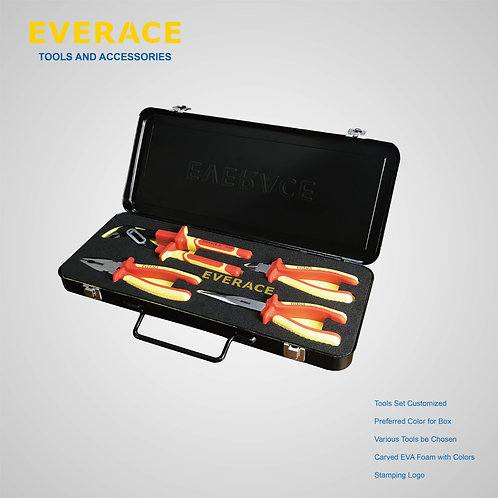325102   4Pcs VDE Tools Set with Metal Box