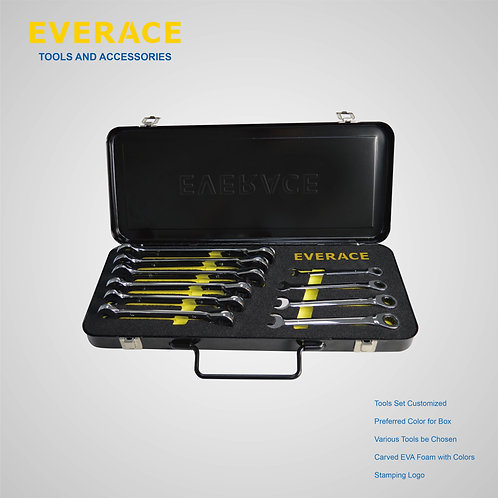 525104  10Pcs Reversible Ratchet Spanners Set  with Metal Box
