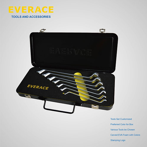 525202    7Pcs 75° Double Ring Wrench Set  with Metal Box