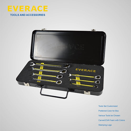 525105  7Pcs Reversible Ratchet Spanners Set  with Metal Box