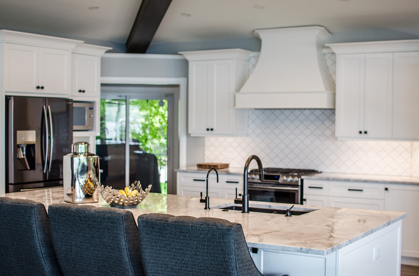 Superwhite kitchen Island & surround