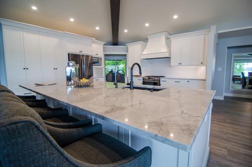 Superwhite kitchen Island & surround