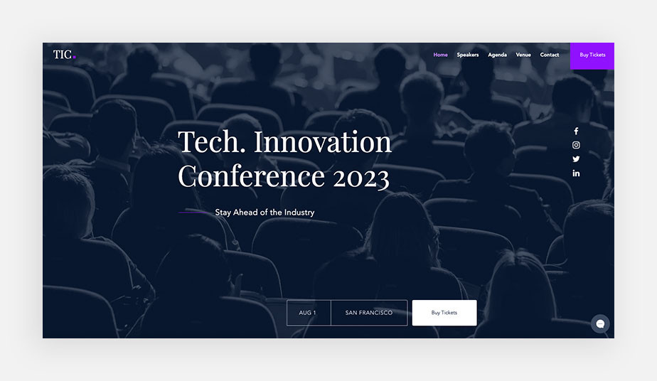 conference landing page design