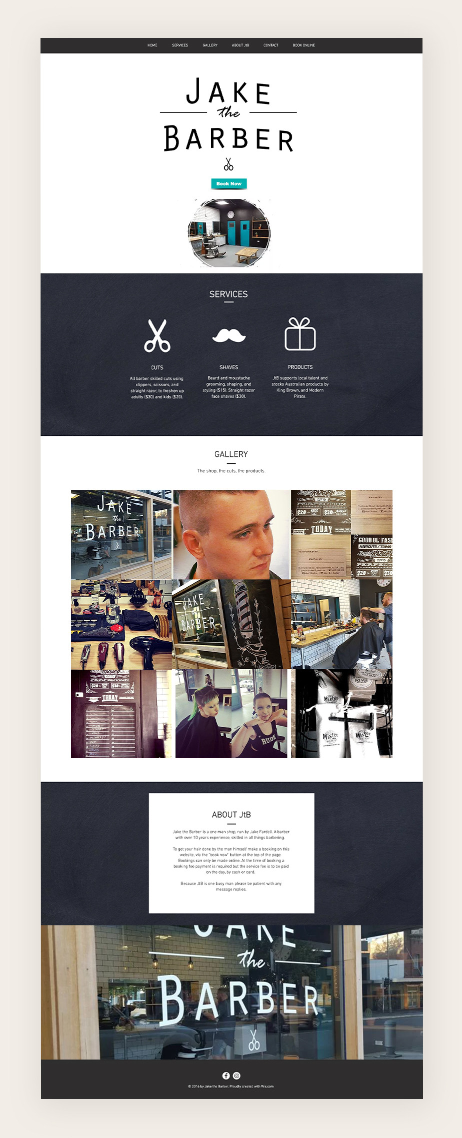 Wix Bookings examples: Jake the Barber