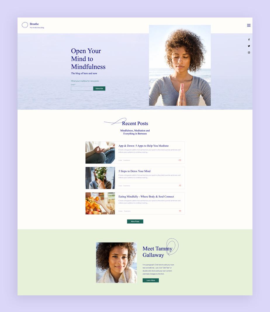 Best blog templates: Mindfulness blog template