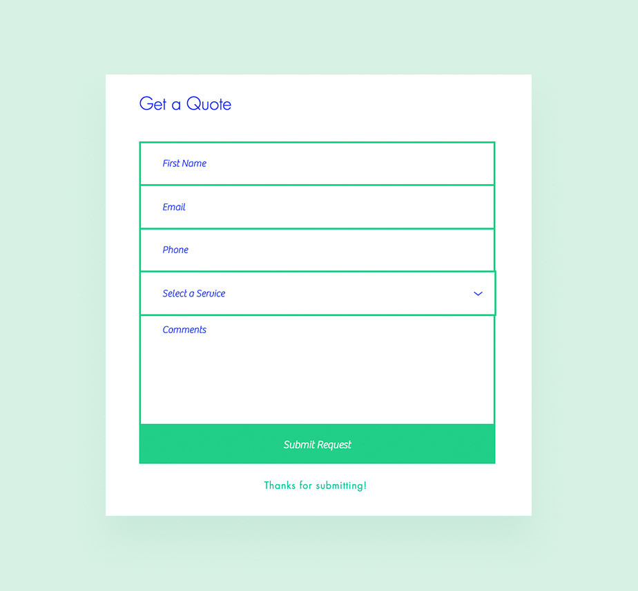 Contact form design: Price quote template