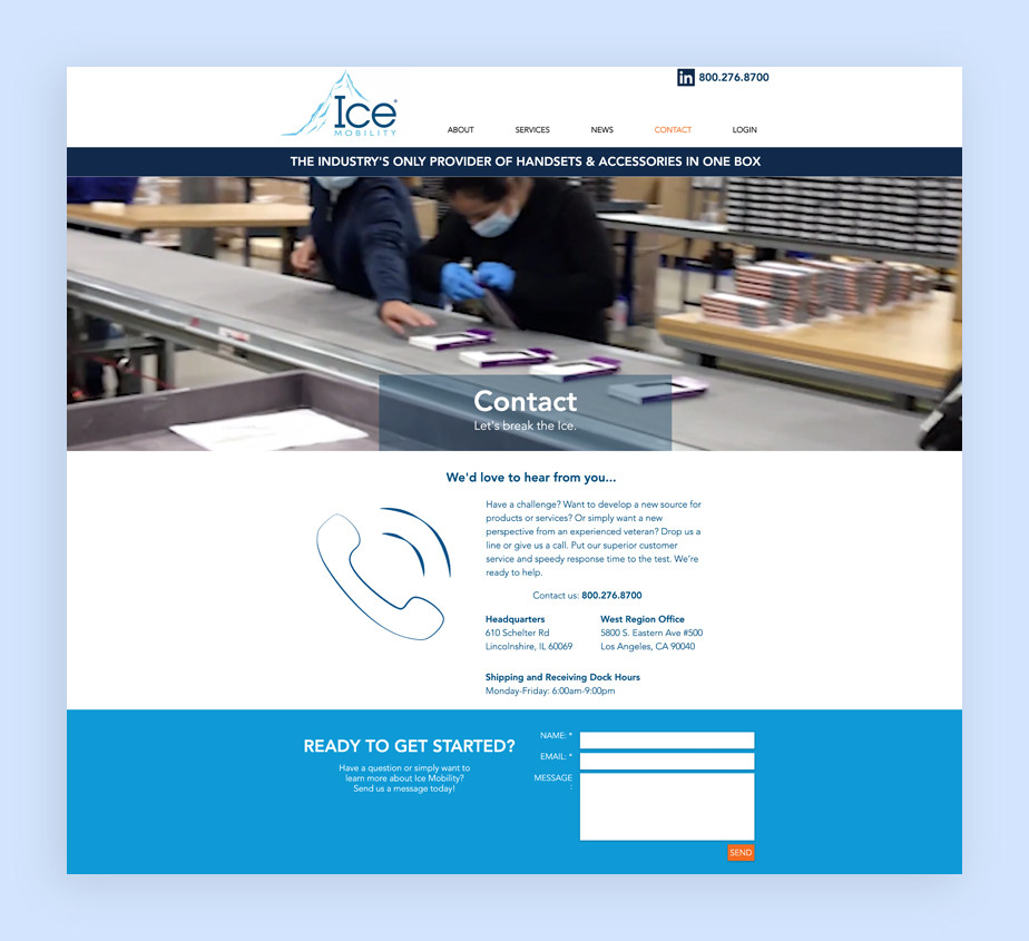 Ice Mobility Contact Us Page