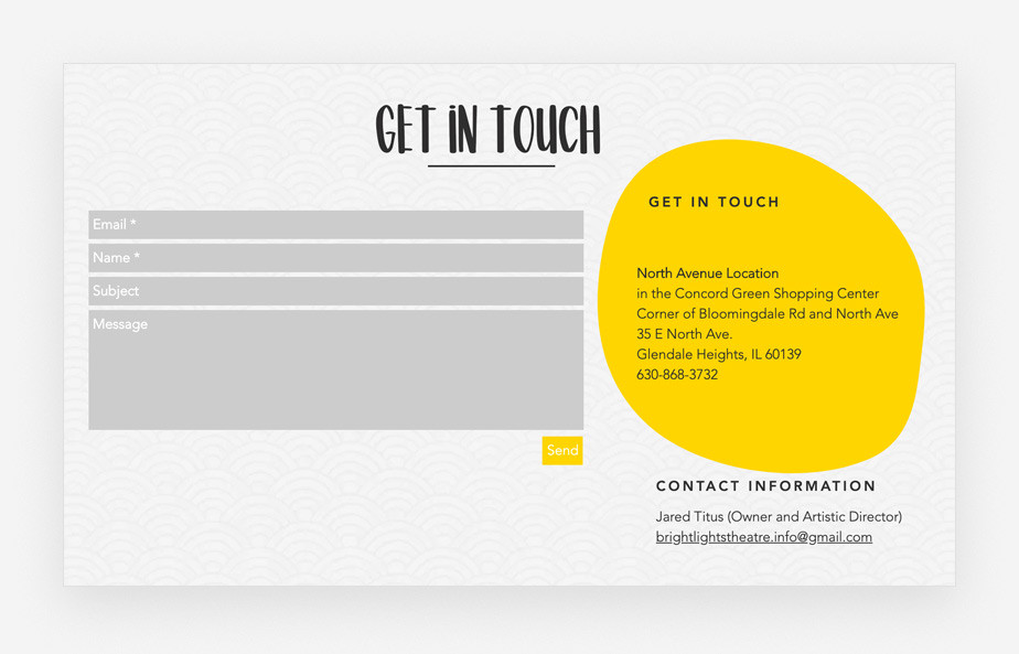 Contact form design: Bright Lights Theatre