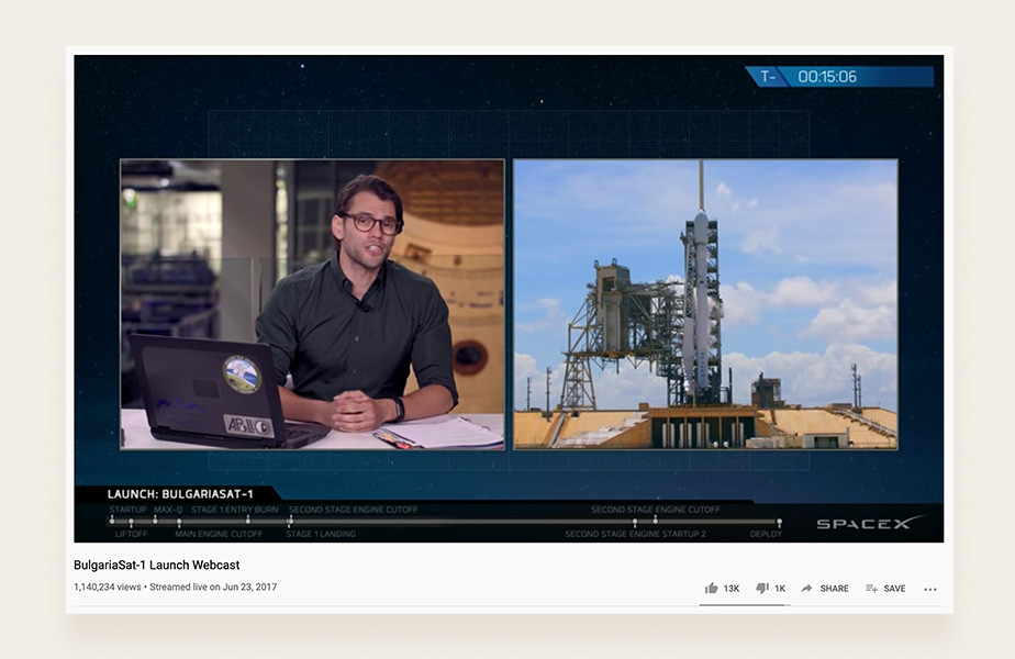 YouTube live stream examples: SpaceX