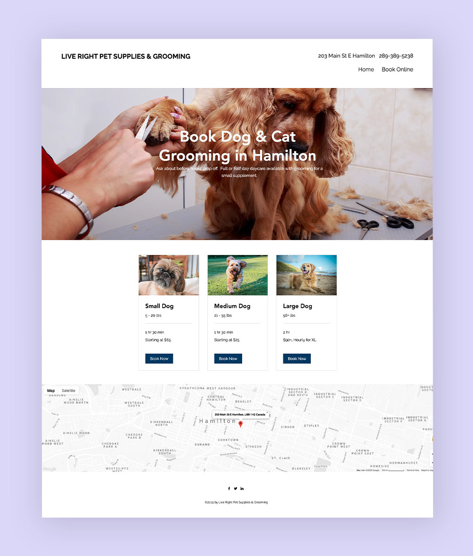 Wix Bookings examples: Live Right Pet Supplies and Grooming