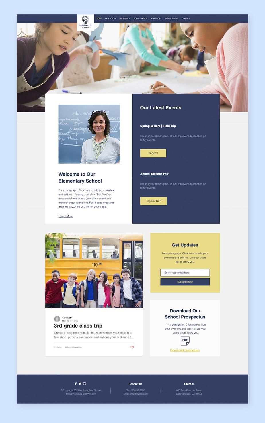 Teaching online: School website