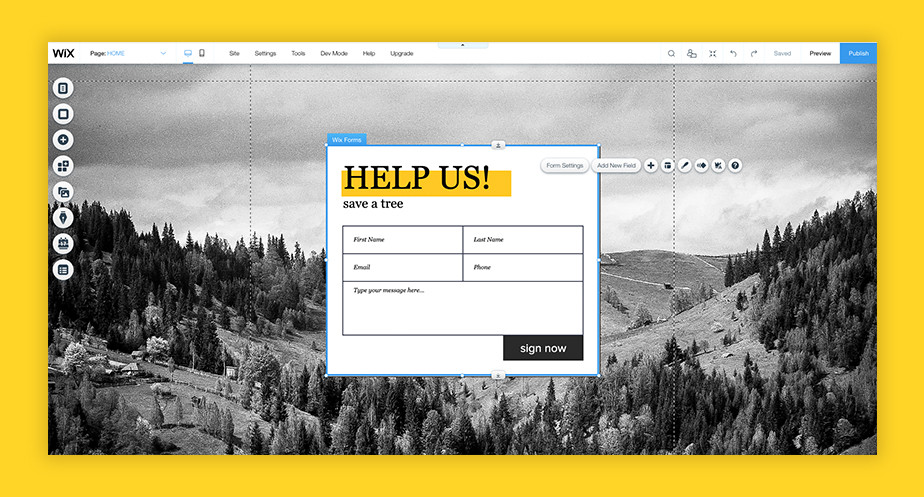 Start a petition website: Wix Forms