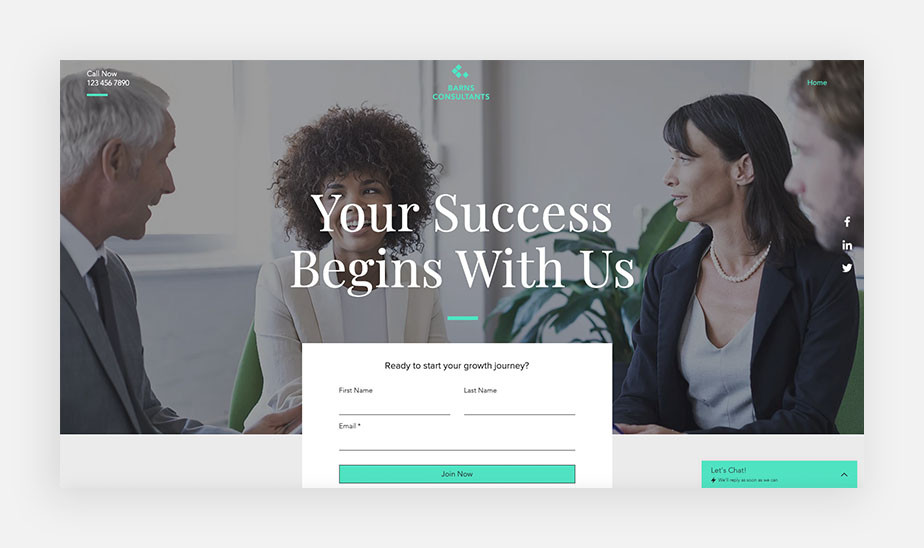 Landing page design with sign up form