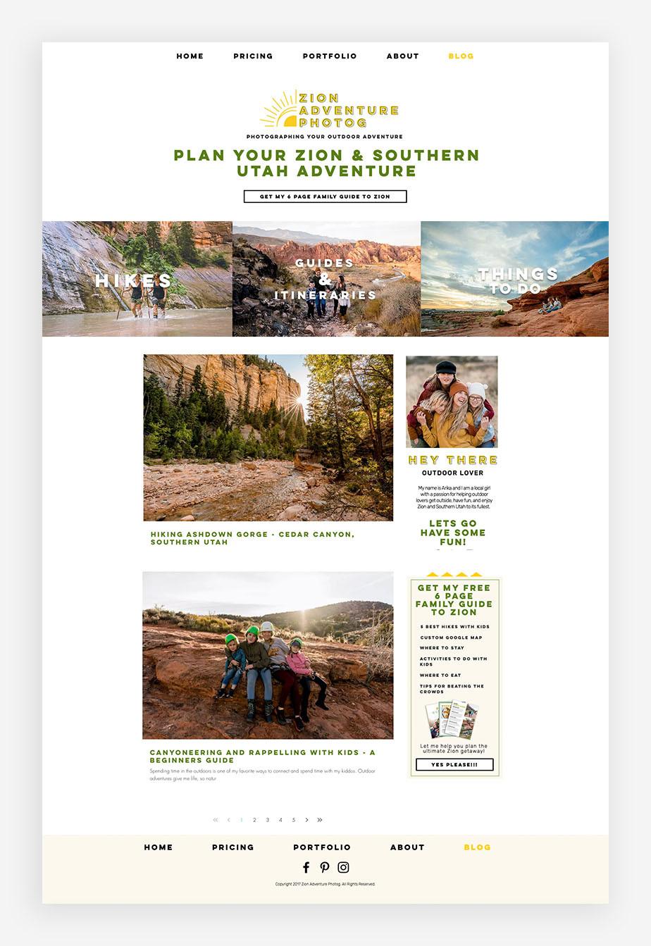 blog examples Zion Adventure Photog Blog