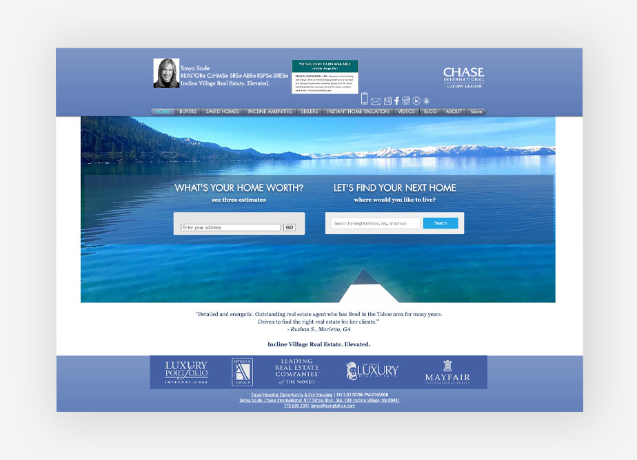 Real estate agent websites: Living Tahoe