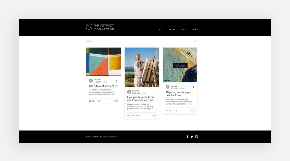 Best blog templates: Art blog template