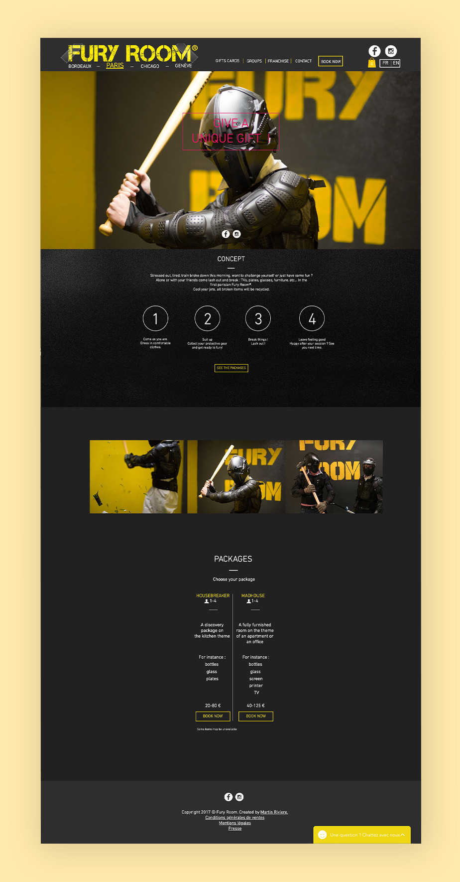 Wix Bookings examples: Fury Room
