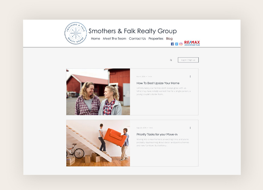 Real estate agent websites: Smothers and Falk