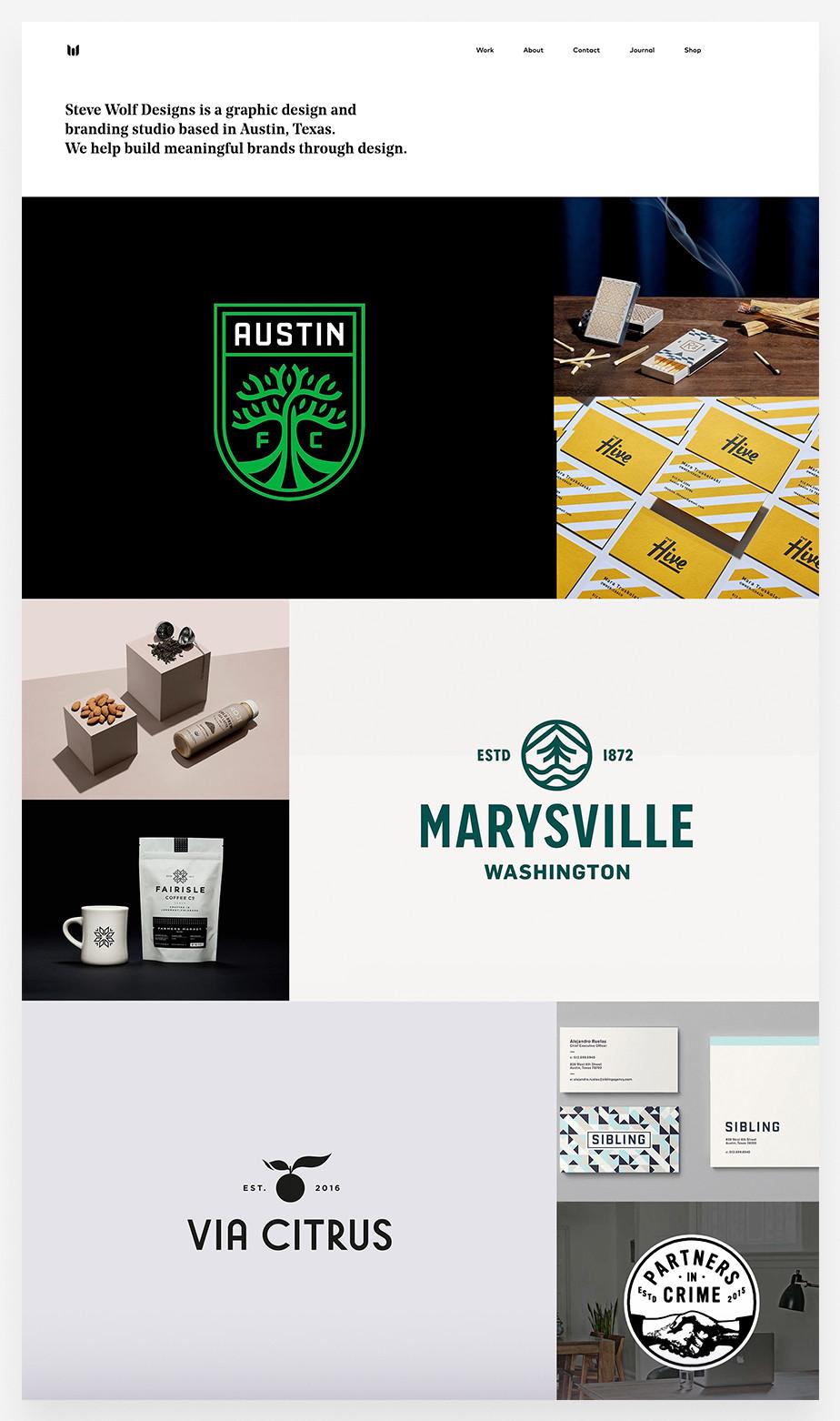 Marketing portfolio examples: Steve Wolf Designs