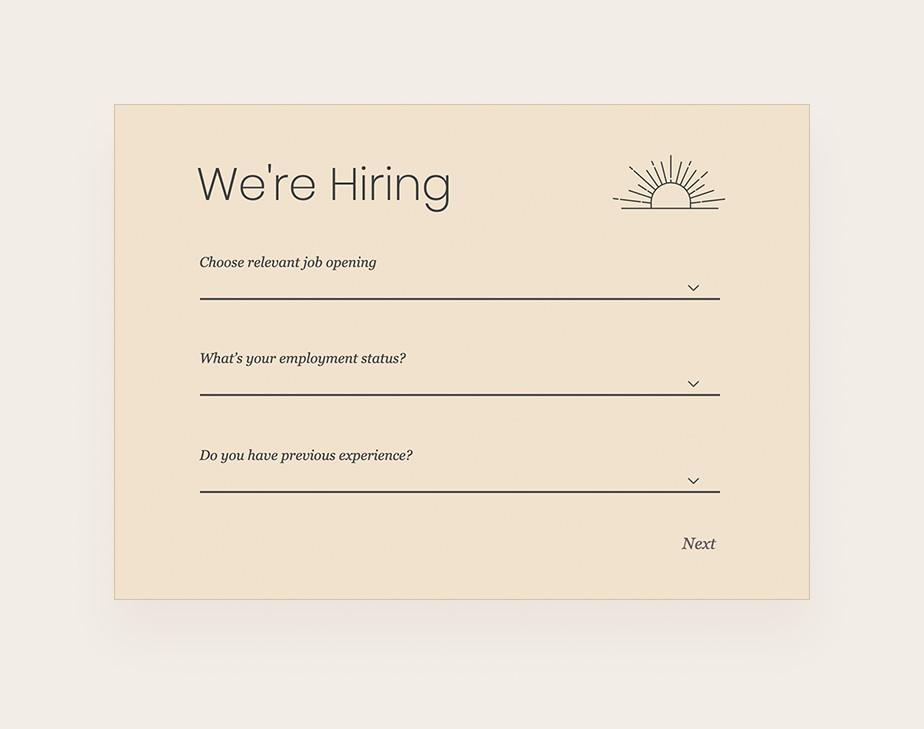 Contact form design: Job application template