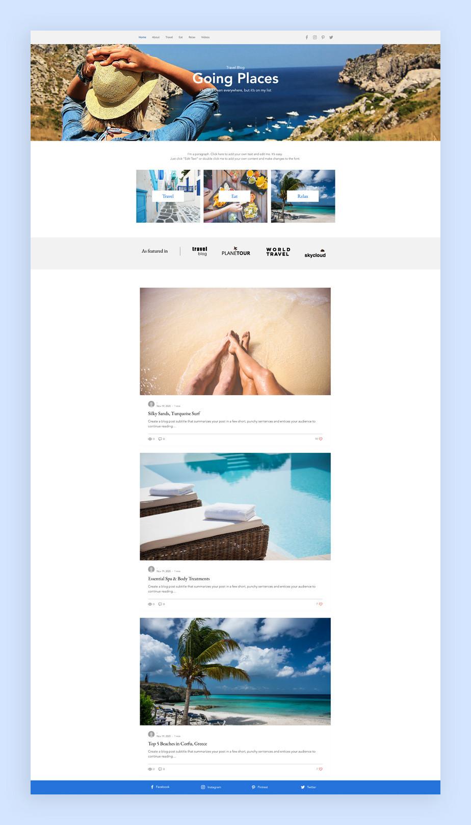 Best blog templates: Travel blog template