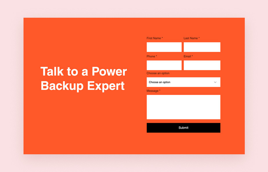 Contact form design: Power-Fact