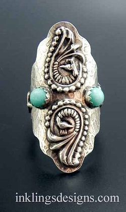 Peacock Boho Saddle Ring