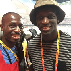 Guess who I found lurking in the crowd watching the relays_ Kirani James of #Grenada - a medalist hi
