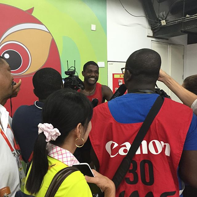 Bambo Akani of _makingofchamps interviewing _justingatlin at the press mixed zone during #Beijing201